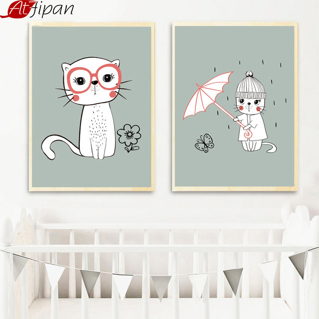 Atfipan Nordic Style Cat Umbrella Posters Animals Wall Art Canvas - Huisdecoratie