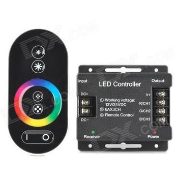 432 W bezprzewodowy kontroler LED RGB w dotykowy pilot zdalnego kontroler rgb dla taśmy RGB moduł (DC 12 V 24 V) tanie i dobre opinie Remote control 3 years 5-10m Black WHITE 12-24 v plastic touch IWHD