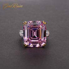 OneRain Classic 100% 925 Sterling Silver Emerald Cut Topaz cytryn Sapphire kamień pierścionki dla par biżuteria hurtowych