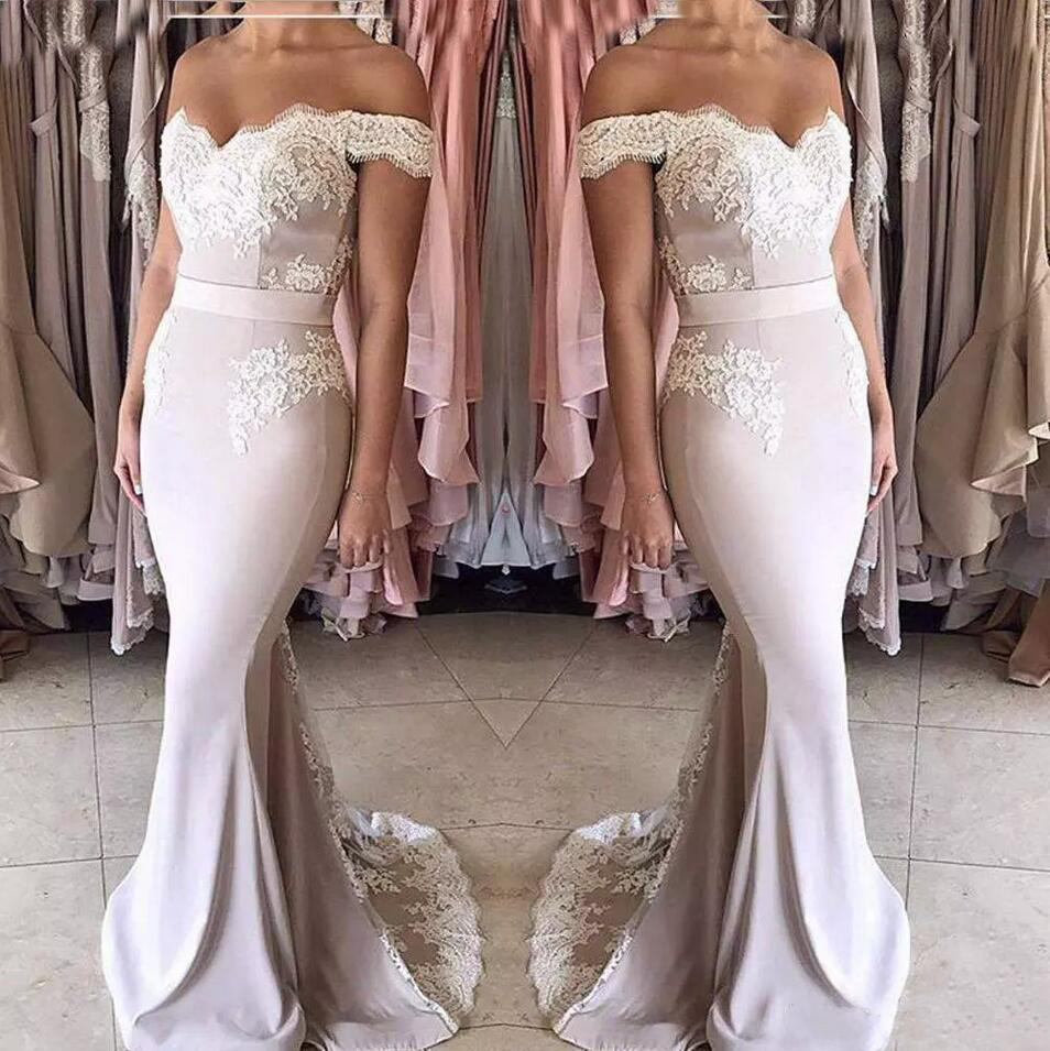 2019 New Blush Pink Lace Chiffon   Bridesmaid     Dresses   Long Off-shoulder Zipper Back Formal Party Gowns Sweet