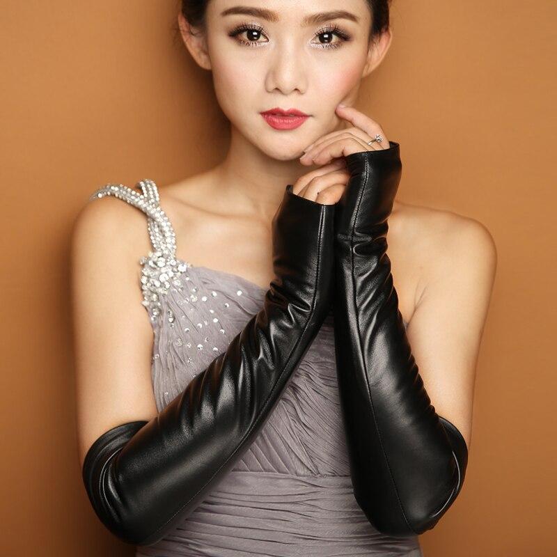 43cm Long Design Genuine Leather Gloves Winter Women Gloves Sheepskin Gloves Female Semi-finger Arm Sleeve Lg004