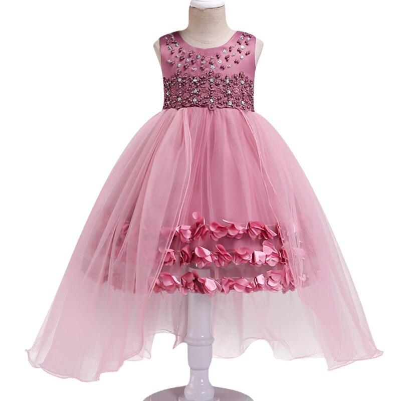 013e79c9ef060 Yüksek kaliteli zarif kız tatlı prenses elbise yaz çocuk çok işlemi  boncuklu çiçek düğün elbise T sahne gösterisi elbise