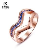 Female Trendy Romantic Blue Rhinestone Ring Jewelry Women Rose Gold Plated Waves Rings Anniversary Gift