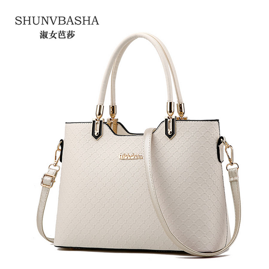 Hot!Women Pu Leather Handbag Female Casual Tote Bag Beige Crossbody Bag Sac A Main Ladies Small Plaid Shoulder Bags 8409 weiju new canvas women handbag large capacity casual tote bag women men shoulder bag messenger crossbody bags sac a main