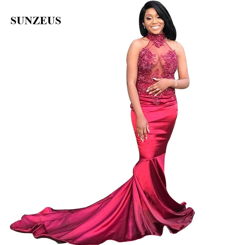 Beaded Appliques High Neck   Prom     Dress   Mermaid Wine Red Satin Long Party Gowns Vestido De Gala