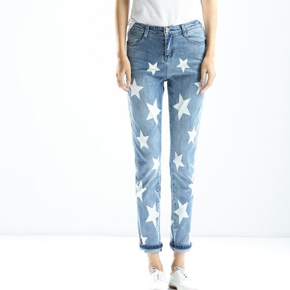 Women's White Stars Painted Light Blue Denim Washed Jeans Fashion Female All Season Match Zipper Pockets Hot Sale European Style цена и фото