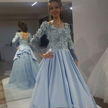 superkimjo Blue Dresses 2019 Long Sleeve Prom Dresses