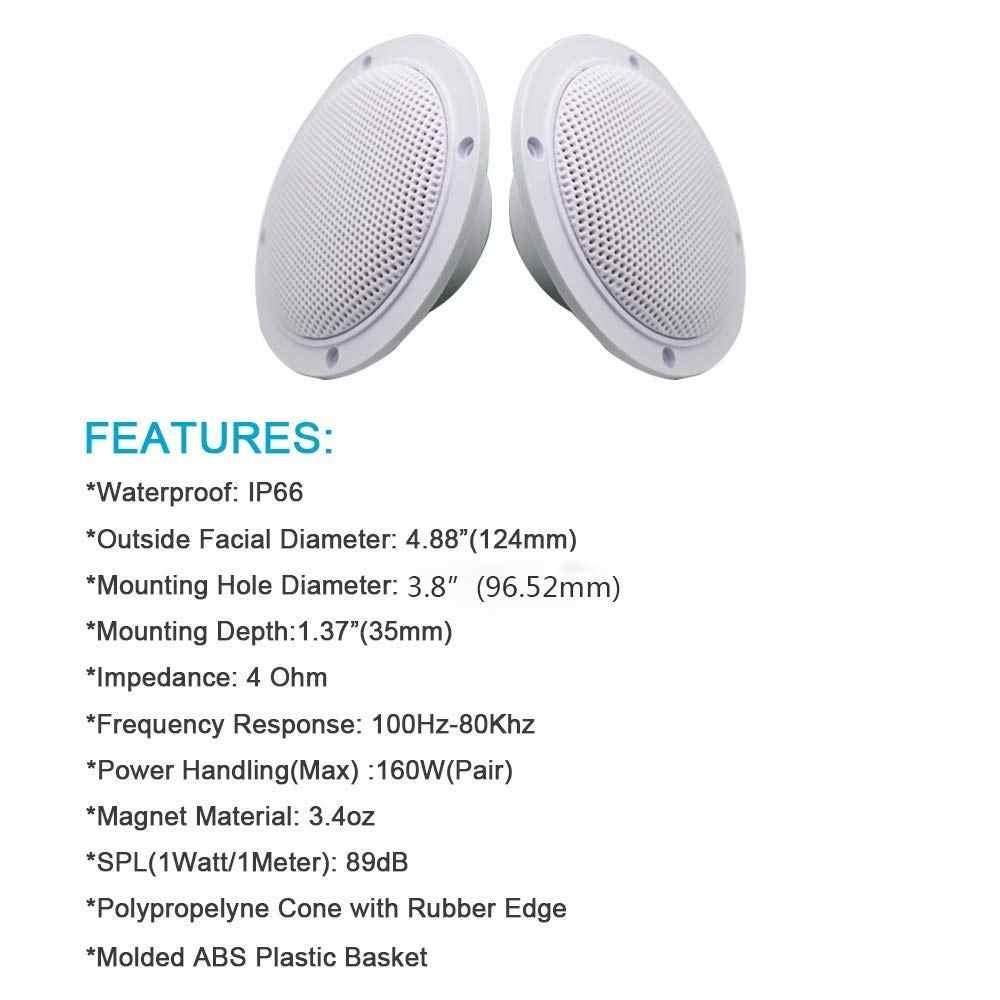 4 Inch 160Watt Marine Speaker Tahan Air Sepeda Motor untuk ATV UTV Spa Golf Kapal Spa UV Luar musik Speaker