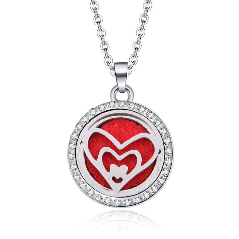Novo Colar de Coração com Strass medalhões Aromaterapia Óleo Essencial Arom Difusor de Perfume Colar de Pingente de presente do Dia das Mães