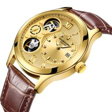 GUANQIN New 2019 watch men Mechanical Automatic top brand luxury clock men waterproof skeleton Double movement Gold Men watches 2017 shenhua gold hollow automatic mechanical watches men luxury brand leather strap casual vintage skeleton watch clock relogio