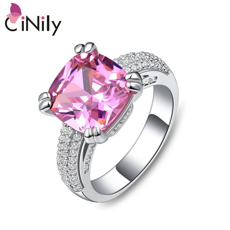 Cinily Jewelry Morganite Ring-Size Engagement Gift Silver-Plated Cubic-Zirconia Women
