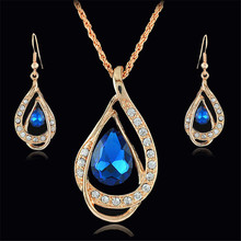 Earrings-Sets Necklaces Pendants Crystal Rhinestone Gold Bridal Fashion Women Luxury