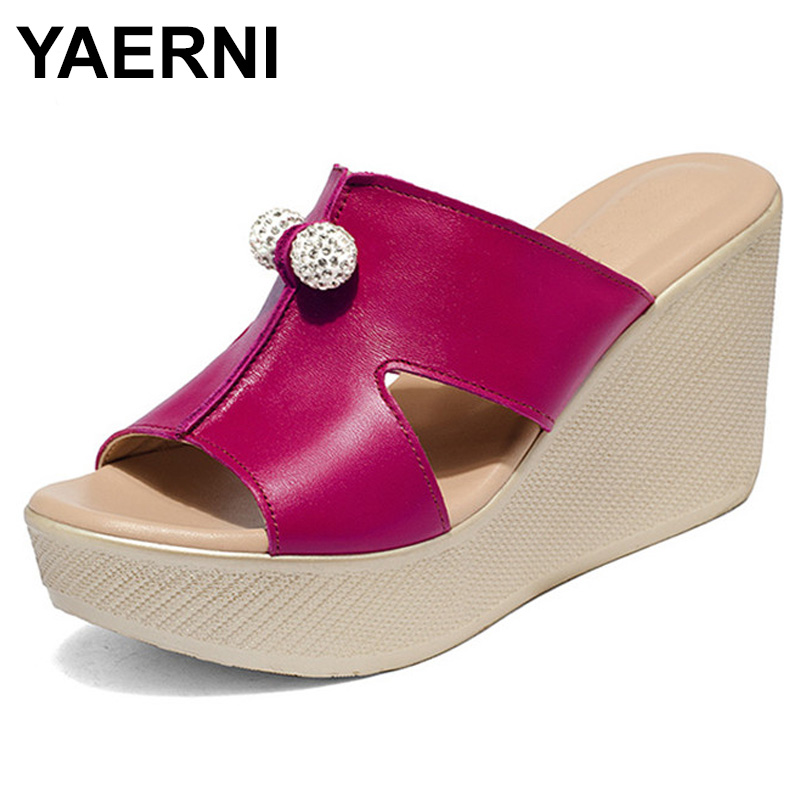YAERNI 2018 Summer Shoes Women Slippers High Thick Heel 2018 Women Sandals Suede Platform Ladies Wedges Sandals Flip Flops E578 купить в Москве 2019
