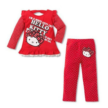 Hello kitty clothing set new baby girls clothing suits dots long sleeve pullover+pants children clothes kids wear sportswear