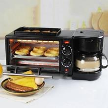 3 в 1 домашняя машина для завтрака, Кофеварка, электрическая духовка, тостер, гриль, сковорода, хлеб, тостер