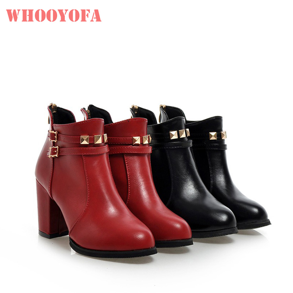 Heels Ankle-Boots Brand-New Nude-Shoes Black Winter Big-Size Women 50 Red 45 W378-Plus
