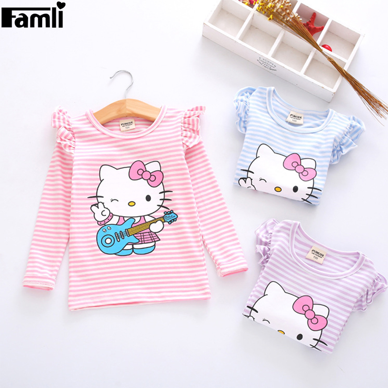 Famli Baby Girls Kitty Striped T-Shirts 2017 Children Girl Spring Autumn Casual Character Long Sleeve Cotton Shirts Tops