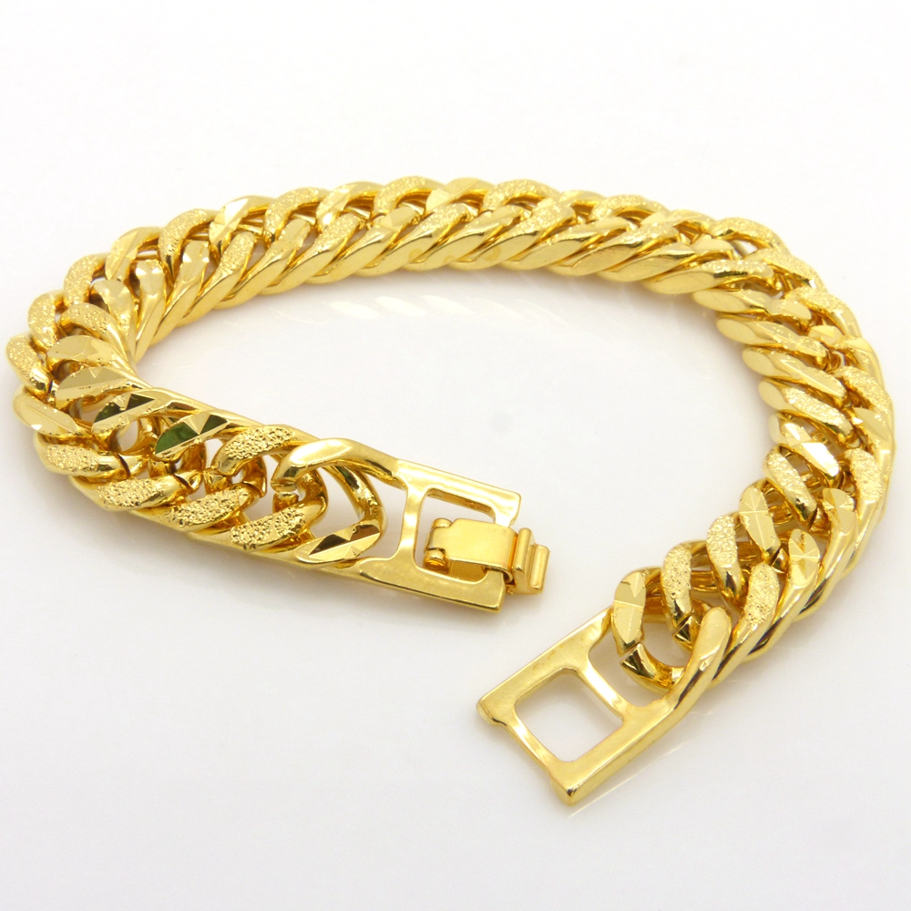 Mens Bracelet Double Curb Chain Solid Gold Filled Thick Heavy Wrist Chain  Tight Rock Style Handsome