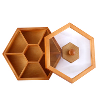 Bamboo snack tray dried fruit storage box with lid multi function home food storage box living room dried fruit candy dish