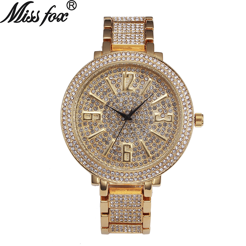 Miss Fox Big Face Watches For Women Fashion Japanese Quartz Movement Full Diamond Watch Female Large Dial Arabic Numeral Watches men watch arabic dial face skeleton quartz movement dubai design urdu numbers watch