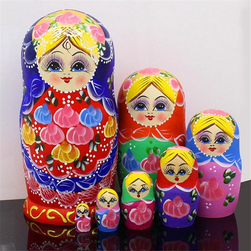 Poupées de nidification russes en tilleul sec coloré peint à la main de 7 couches jouets éducatifs de bricolage de mode poupées Matryoshka pour enfants L30