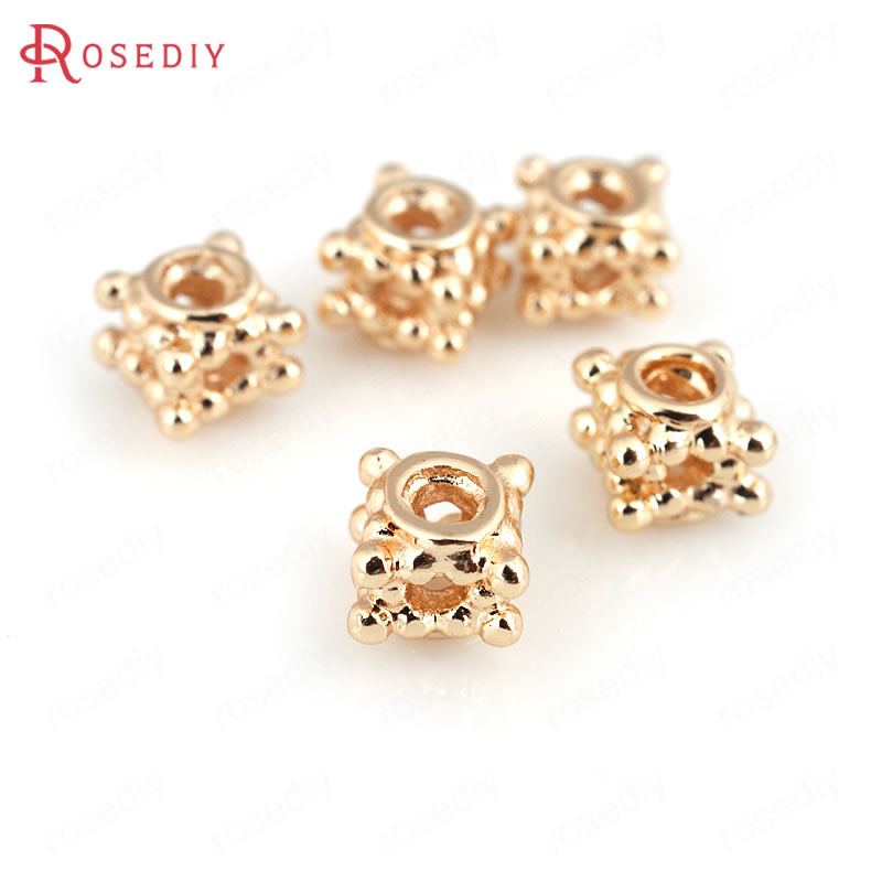 Trustful d234 10 Pieces 5mm 24k Champagne Gold Color Plated Brass Cube Spacer Beads Bracelet Beads High Quality Diy Jewelry Accessories