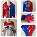 Suicide Squad Batman Harley Quinn Cosplay Halloween Costume Full Set Printed T Shirt+ Shorts+ Jacket + One piece of glove