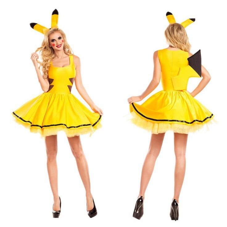 Cute Pikachu Dress for Women Unique Women Pikachu Cosplay Costume Halloween Party Costume for Women Summer Dress