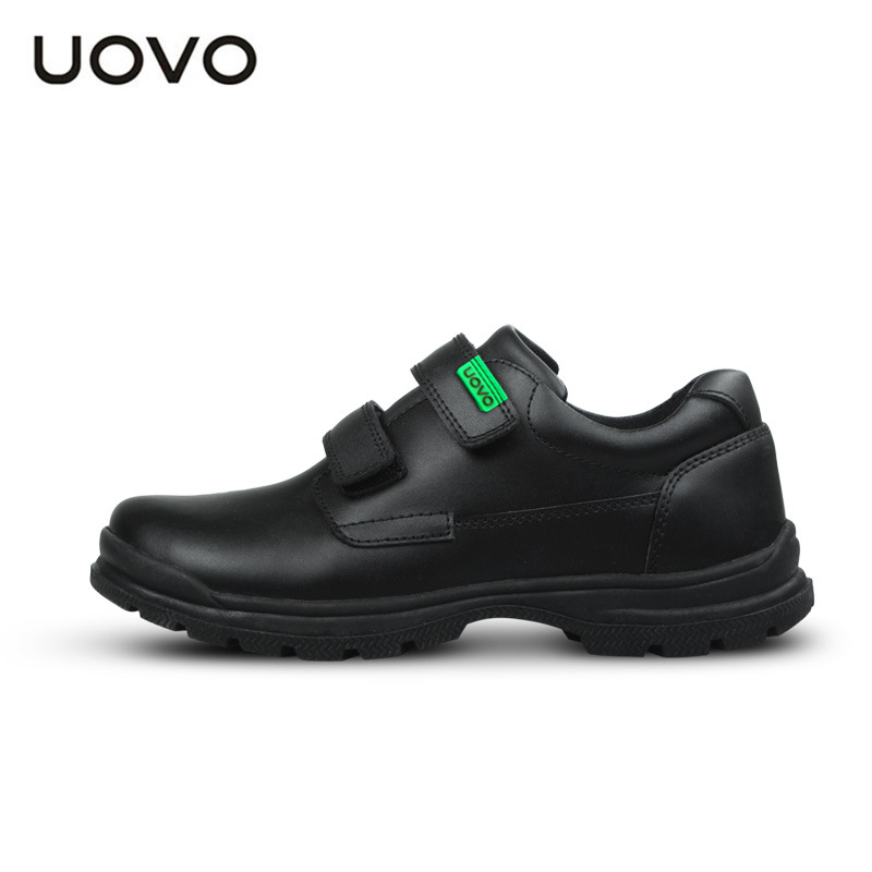 UOVO 2017 New Children's Real Leather (Cow Split) Shoes Boys Waterproof Black Leather Shoes School Uniform Shoes Wearable Casual uovo racing driver sport kids shoes boys leather children shoes non slip tenis sneakers breathable boys shoes trainers wearable