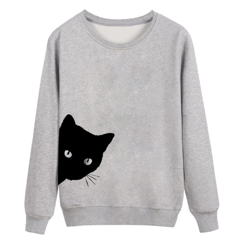 Womens Spring Autumn O Neck Long Sleeve Hoodies Cute Cartoon Cat Looking Out Side Printed Sweatshirts Loose Pullover Jumper Tops in T Shirts from Women 39 s Clothing