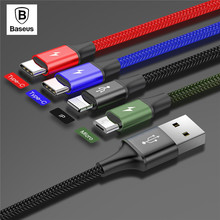 BASEUS Fast Charging Cable 4-in-1 for iPhone + 2 x Type-C + Micro USB Data Sync Charging Cable for Samsung s9 s8 Plus Note 9 8