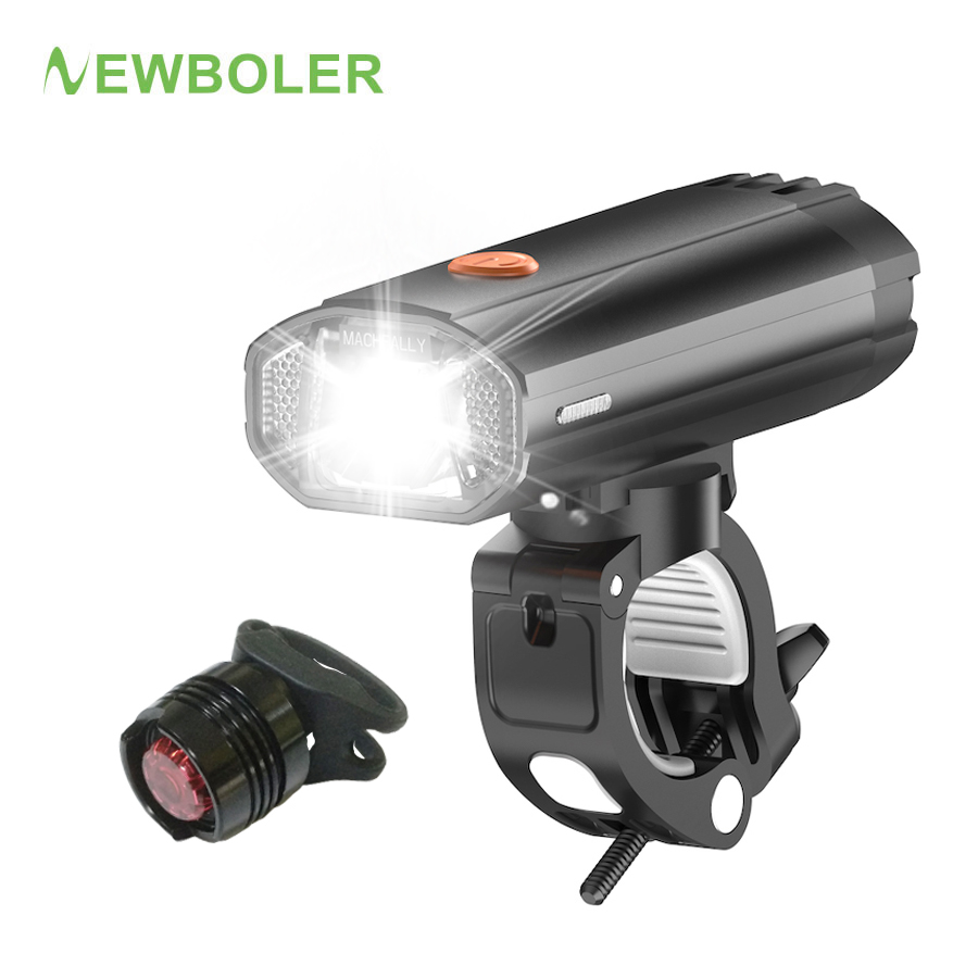 NEWBOLER German Standard Flashlight For Bicycle 4000 MAh Bike Light Front And Back Light Kit USB LED Headlight Accessories Mount