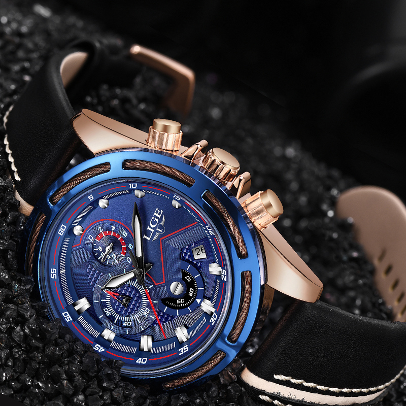 LIGE Mens Watch Brand New Men Watch Luxury Brand Fashion Quartz Watches Military Casual Luminous Sports Wristwatch+Box 2014 new arrival fashion men sports dual movement analog watches military quartz luxury fashion brand led watch 30m waterproofed oversize wristwatch red