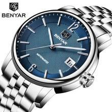 BENYAR Çelik Mekanik İzle Erkekler Su Geçirmez Lüks Marka Otomatik İş İzle Erkek Saat montre homme relojes hombre