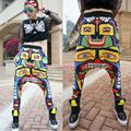 Корейский хип-хоп тенденция персонализированные цвет широкий большой промежности брюки висит промежность штаны прилив мужской брюки с киосков