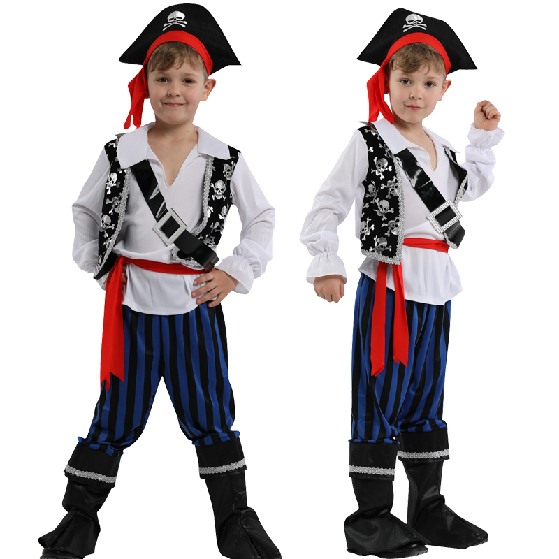Free Shipping Pirate Captain +hat Cosplay Clothes For Baby Boy Halloween Christmas Fancy Costume For Kids Children Pirate
