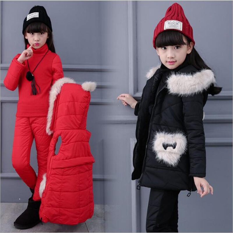 2018 Girls Winter Down Jacket Coat Children Clothing Set Kids Hooded Parkas Teens Fur Vest+Jacket+Pants Suits Girl Princess Coat a15 girls down jacket 2017 new cold winter thick fur hooded long parkas big girl down jakcet coat teens outerwear overcoat 12 14