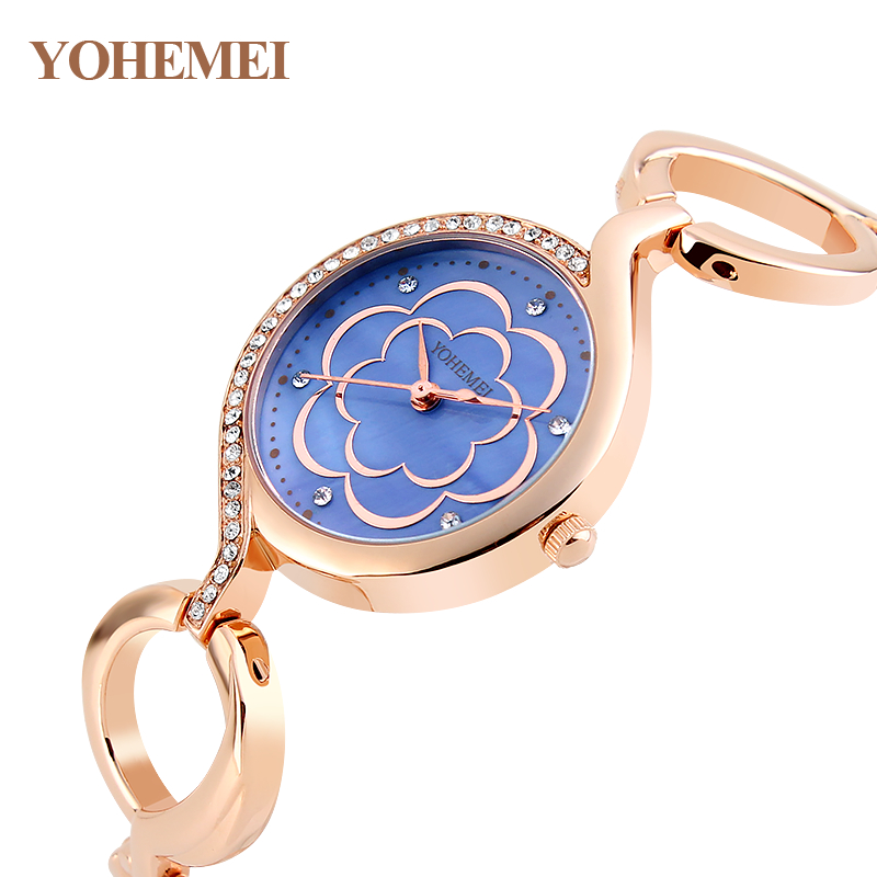 цены  YOHEMEI Ladies Watches Luxury Reloj Mujer Fashion Women Dress Rhinestone Quartz Watch Gold Flowers Dial Bracelet Watch Relogio