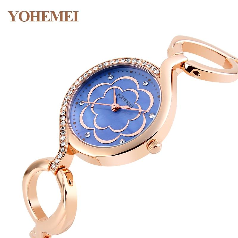 цены  YOHEMEI Ladies Watches Luxury Reloj Mujer Fashion Women Dress Rhinestone Quartz Watch Gold Flowers Dial Bracelet Watch Relogio