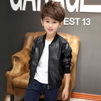 Teenager 2019 New Autumn Kids Boys Leather Jackets Solid Fashion O-neck Zipper Outerwear Jackets for Boy Children Clothes 7jk050
