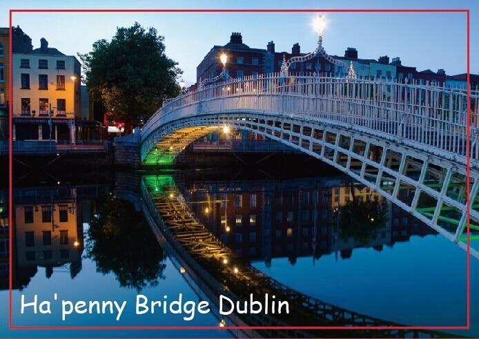 Travel Refrigerator Magnets memories,Ha'penny bridge and River Liffey at night, Dublin, Ireland Tourist Rigid Magnets 20639
