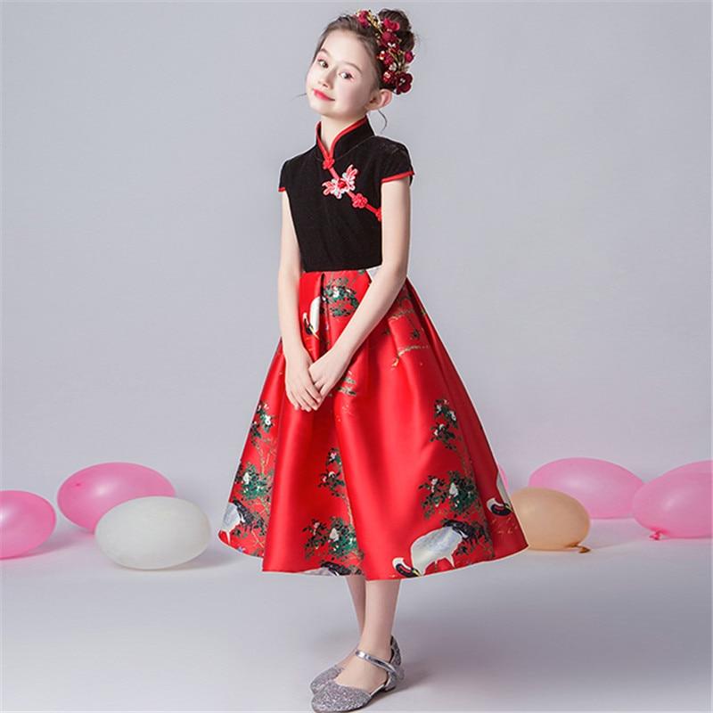 2019 de lujo primavera nuevo estilo chino tradicional de las muchachas de los niños de la noche de la fiesta de cumpleaños modelo de vestido de los niños adolescentes vestido de baile de graduación - 5
