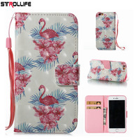 STROLLIFE Colorful Flamingos Wallet Leather Case For iPhone X 5S 5 SE 6 6S 7 7Plus 8 8Plus Luxury Flip Stand Cover Phone Bag