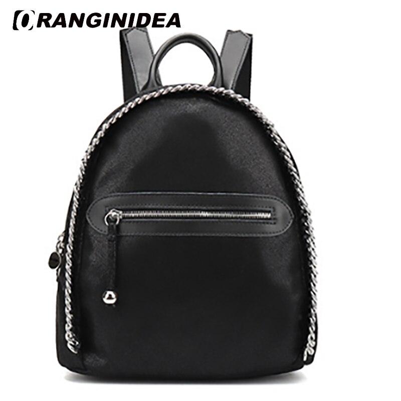 2018 femmes sacs à dos dame noir chaîne décoration sacs à dos adolescent filles sac d'école mode noir voyage sac à dos sac d'école