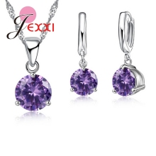 Crystal  925 Sterling Silver Pendants Stud Earring Sets