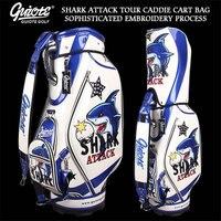 NEW Shark Attack Golf Caddie Cart Bag PU Leather Standard Golf Tour Staff Bag With Rain Hood 5 way For Men Women