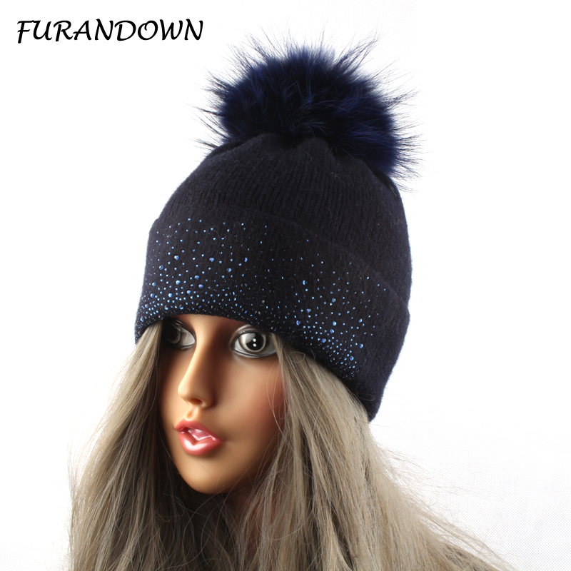 Mink Raccoon Fur Hats For Women Winter Wool Knitted Cap Rhinestone Hat Fur Pompom Beanies