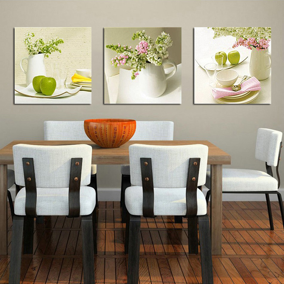 Buy unframed 3pcs fruit and floral wall for Modern kitchen wall art
