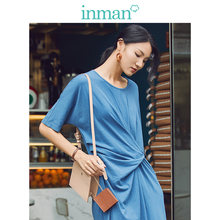 INMAN 2019 Autumn New Arrival Cotton O-neck Korean All Matched Casual Fashion Medium Sleeve Women Dress(China)