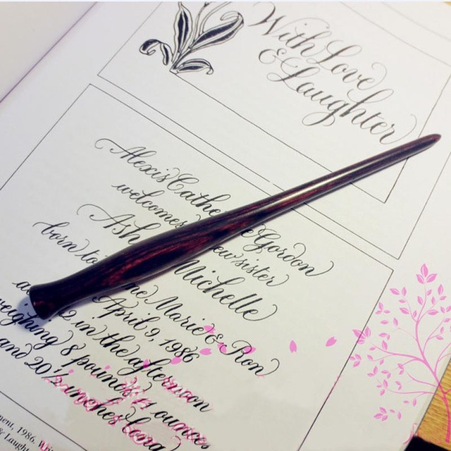 Handmade Peach Wood Copperplate Script Hourglass Straight Dip Pen Nib Holder Best Gift English Calligraphy